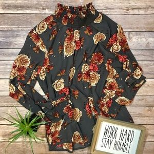 Midnight Sky pullover blouse with floral print